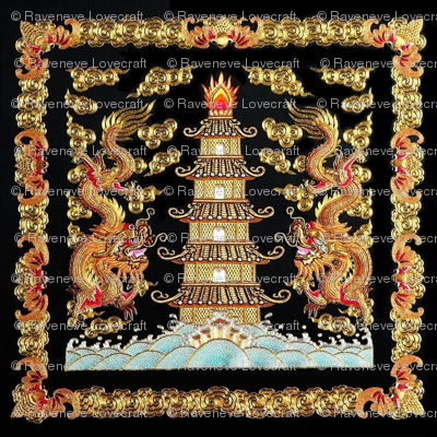 double royal golden novelty thrones embroidery asian japanese china chinese oriental cheongsam kimono dragon pagoda sea ocean imperial chinoiserie kings queens museum traditional rank regal korean kabuki geisha yuan ming qing dynasty tapestry vintage empe