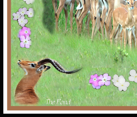 Impala in the grass fabric by pondprinter on Spoonflower - custom fabric