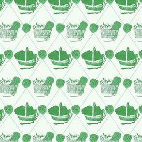 Woolen Knitin' n Kittens diamonds - green