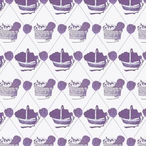 Woolen Knitin' n Kittens diamonds - purple