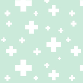 Scattered Mint and White Crosses
