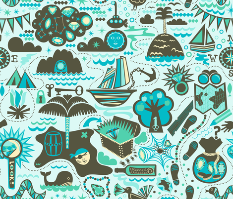 Treasure Island in Twilight fabric by christinewitte on Spoonflower - custom fabric