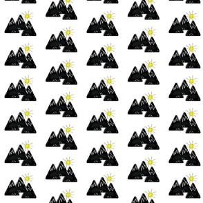 mountains w/ sun