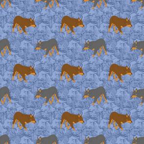 Herding Kelpies and sheep - blue