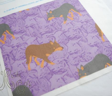 Herding Kelpies and sheep - purple