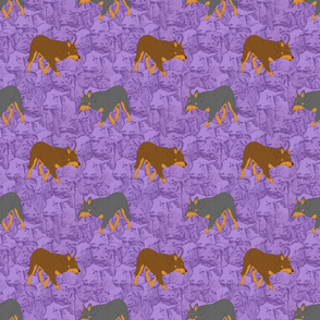 Herding Kelpies and sheep - purple