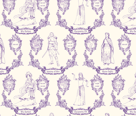 Women from continents - blue fabric by analinea on Spoonflower - custom fabric