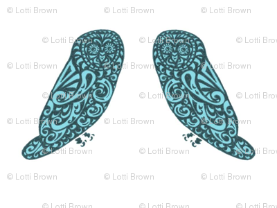 Mini Owls - Vibrant Teal