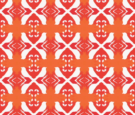 Tangerine Aviary fabric by peaceofpi on Spoonflower - custom fabric