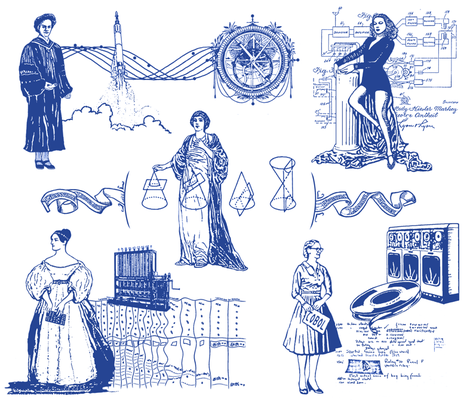 Women of Computer Science - Toile fabric by elramsay on Spoonflower - custom fabric