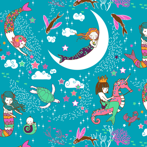 Mermaid Lullaby (teal) SMALL fabric by nouveau_bohemian on Spoonflower - custom fabric