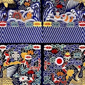 royal golden novelty thrones embroidery asian japanese china chinese oriental cheongsam kimono storks cranes birds sea ocean imperial chinoiserie kings queens museum traditional rank regal korean kabuki geisha yuan ming qing dynasty tapestry vintage emper