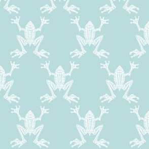 Fabulous Frogs - Vintage Blue/white (small-scale version)