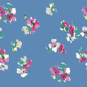 1940s inspired flowers on blue background