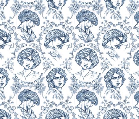 Jane Burden Morris Navy fabric by chantal_pare on Spoonflower - custom fabric