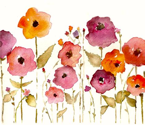 Watercolour Garden fabric by savannahlindsay on Spoonflower - custom fabric
