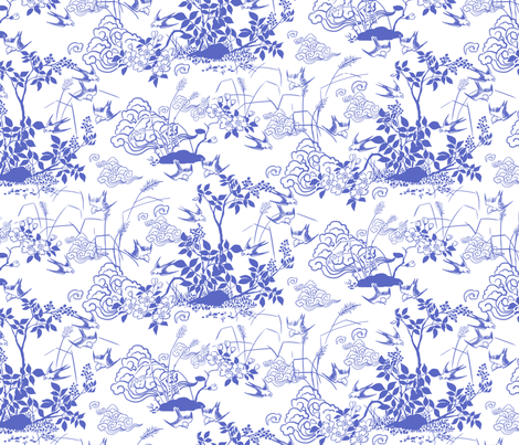 Birds and Berries Blue fabric by vinpauld on Spoonflower - custom fabric