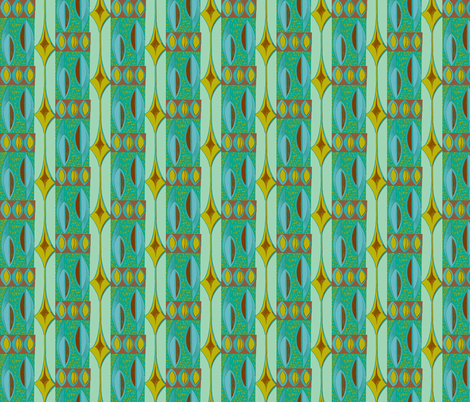 Abstracted shields, blue and brown fabric by sophista-tiki_by_dawn_frasier on Spoonflower - custom fabric