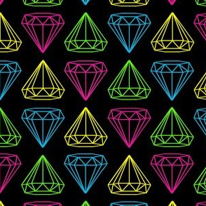Neon Diamonds on Black