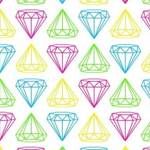 Neon Diamonds on White
