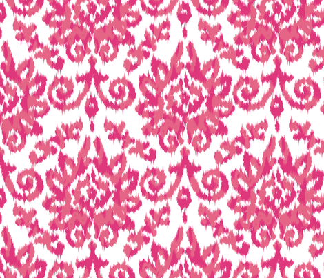 Pink Ikat Damask fabric by stuckmotion on Spoonflower - custom fabric
