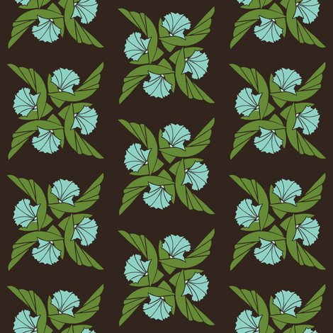 Radial Floral in Green & Aqua fabric by carrie_narducci on Spoonflower - custom fabric