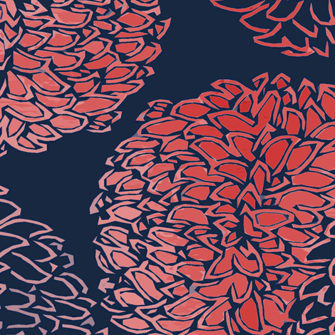 Ming Chrysanthemum in Navy and Coral Pink fabric ...