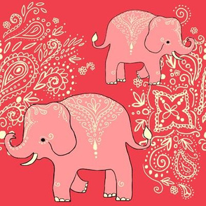 Exotic elephants coral and peach