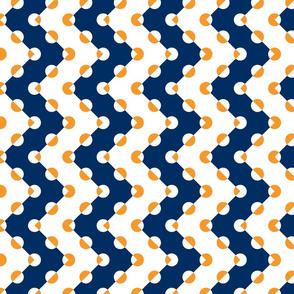 Polka Dot Chevrons Navy Orange