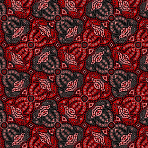 paisley hourglass red/grey