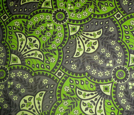 paisley hourglass green/grey
