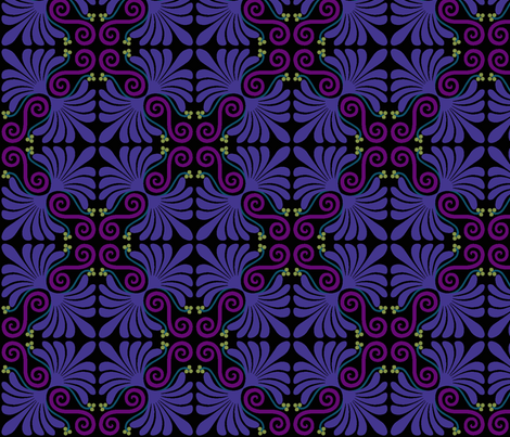 Palmette purples fabric by craftyscientists on Spoonflower - custom fabric