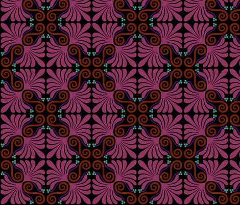 Palmette in pink fabric by craftyscientists on Spoonflower - custom fabric