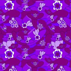 Celia Purple Bonnets Collage 2 Fabric
