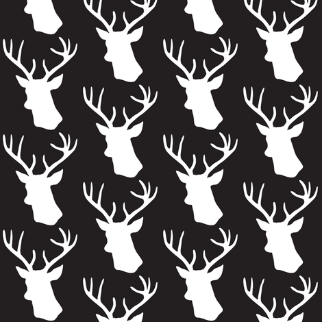 black and white stag deer head pattern fabric by on spoonflower custom fabric