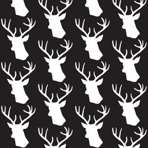 Black and White Stag Deer head pattern