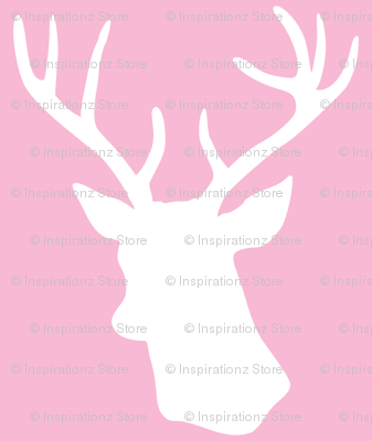 Stag Deer Head Pattern On Pink Fabric Inspirationz