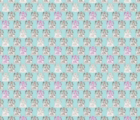 Blue Ganesh indian god illustration pattern fabric by littlesmilemakers on Spoonflower - custom fabric