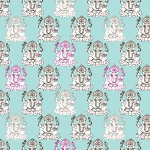 Blue Ganesh indian god illustration pattern