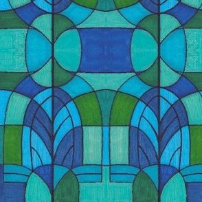 stained glass blue window