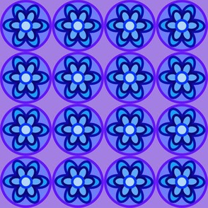 retro flowers blue