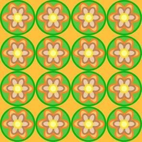retro flowers orange green