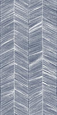 Herringbone White on Navy - Wallpaper