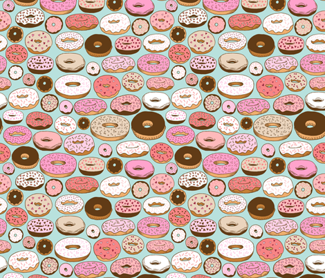 donuts on blue fabric by kristinnohe on Spoonflower - custom fabric