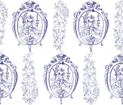 Toile de Jouy fabric by jabiroo on Spoonflower - custom fabric