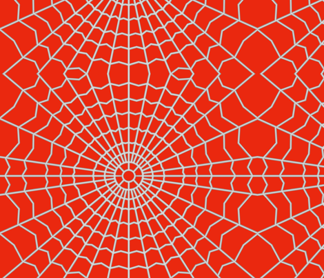 Spider Web on Bright Red fabric by house_of_heasman on Spoonflower - custom fabric