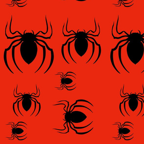 Black Spiders On Red
