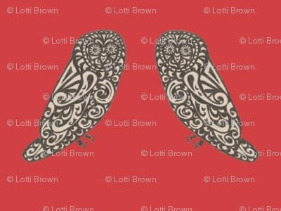 Mini Owls - Bold Red