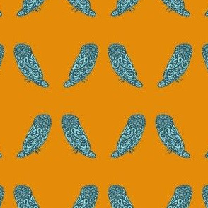 Mini Owls - Orange & Teal