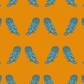 Mini Owls - Orange & Teal